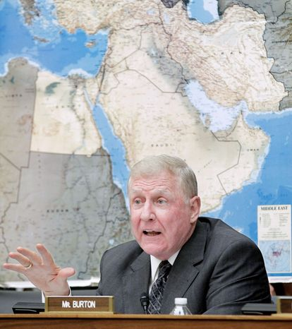 House Foreign Affairs Committee member Rep. Dan Burton, Indiana Republican, is upset that U.S. aid may be flowing to countries in the Mideast that are attacking and trashing U.S. embassies. He mounted a futile protest during debate last week. (Associated Press)