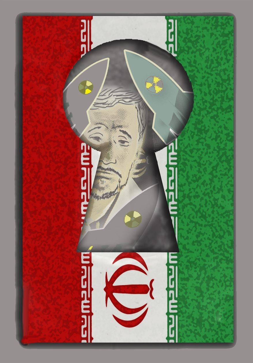 Illustration Iran Keyhole by John Camejo for The Washington Times