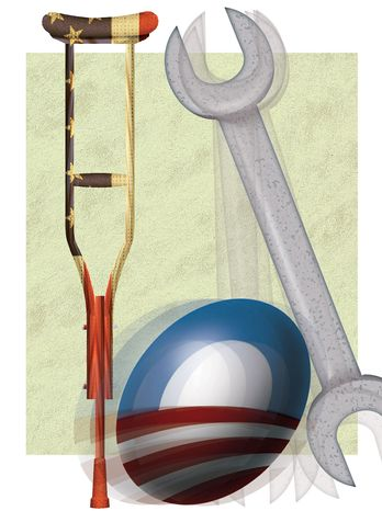 Illustration Obama Crutch by Alexander Hunter for The Washington Times