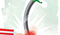 Illustration Stabbing the Hand that Feeds You by Linas Garsys for The Washington Times