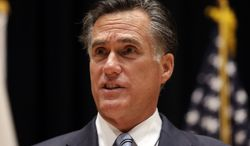Republican presidential candidate Mitt Romney speaks Sept. 17, 2012, to reporters in Costa Mesa, Calif. (Associated Press)