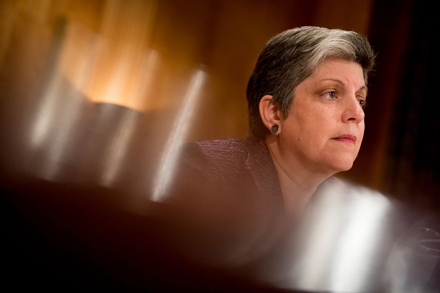 Homeland Security Secretary Janet A. Napolitano testifies on homeland threats and agency responses before the Senate Homeland Security and Governmental Affairs Committee on Capitol Hill in Washington on Wednesday, Sept. 19, 2012. (Andrew Harnik/The Washington Times)
