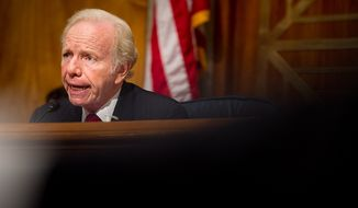** FILE ** Then-Sen. Joe Lieberman speaks as (not shown) Homeland Security Secretary Janet A. Napolitano, FBI Associate Deputy Director Kevin Perkins and National Counterterrorism Center Director Matthew G. Olsen testify on homeland threats and agency responses before the Senate Homeland Security and Governmental Affairs Committee on Capitol Hill in Washington on Wednesday, Sept. 19, 2012. (Andrew Harnik/The Washington Times)
