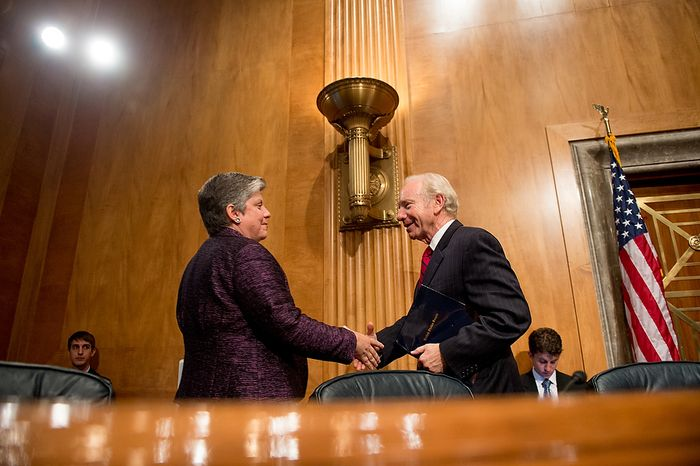 Homeland Security Secretary Janet A. Napolitano shakes hands with Sen. Joseph I. Lieberman (right) following testimony on homeland threats and agency responses in front of the Homeland Security and Governmental Affairs Committee on Capitol Hill in Washington on Wednesday, Sept. 19, 2012. (Andrew Harnik/The Washington Times)