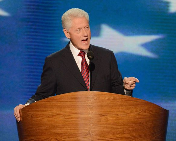 Former President Clinton will make the rounds of Sunday TV political talk shows to make the case for re-election of President Obama. Mr. Clinton was widely praised for Democratic Party convention speech. (Andrew Geraci/The Washington Times)