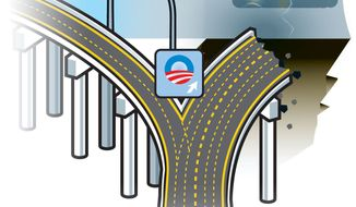 Illustration Obama Roads by Linas Garsys for The Washington Times