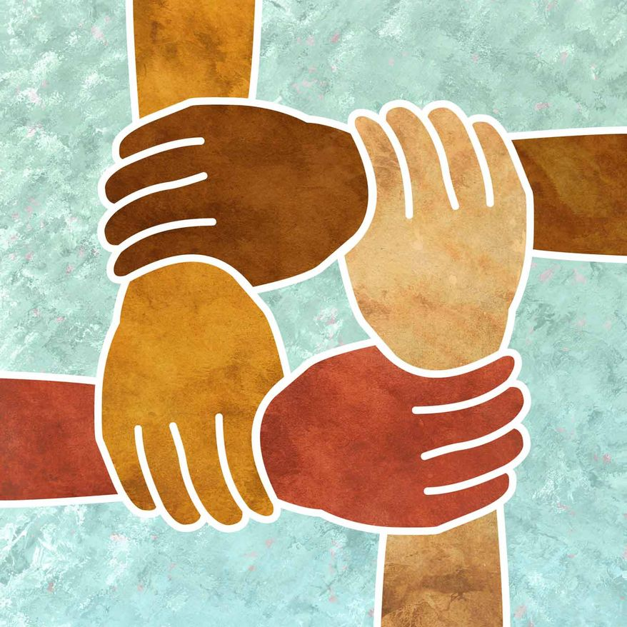 Illustration Diversity Hands by Greg Groesch for The Washington Times