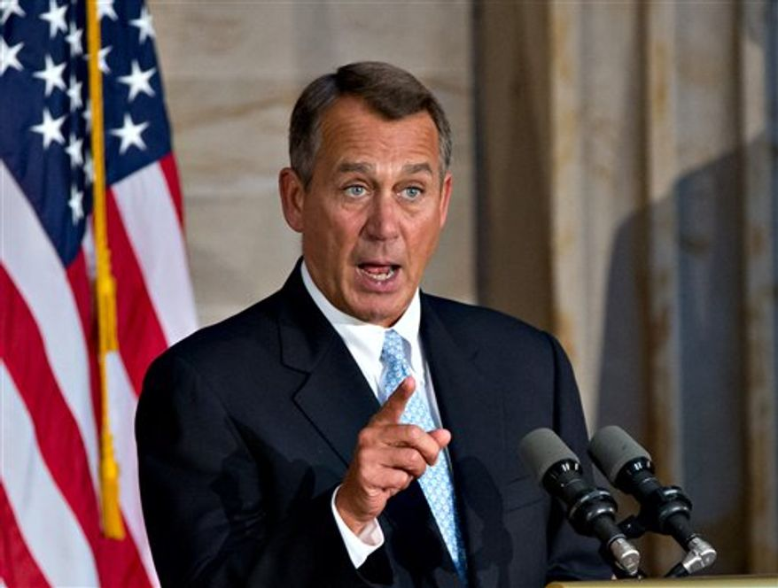Speaker of the House John Boehner, Ohio Republican, speaks before awarding the Congressional Gold Medal to golfing legend Arnold Palmer, at a ceremony in the Rotunda of the Capitol, Wednesday, Sept. 12, 2012. (AP Photo/J. Scott Applewhite)
