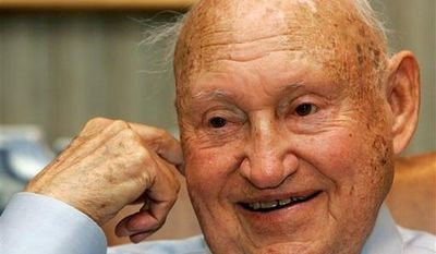 ** FILE ** In this July 26, 2006 photo, Chick-Fil-A founder Truett Cathy reacts during an interview at his corporate headquarters office in Hapeville, Ga. It is not entirely clear whether Chick-fil-a has definitely ended its financial support for groups that oppose same-sex unions. But a statement issued by the company Wednesday, Sept. 20, 2012, just months after its chief spoke against gay marriage, indicates it now plans to keep its distance from the more controversial views held by its Southern Baptist owners. (AP Photo/Ric Feld, File)