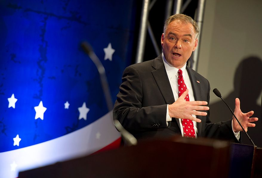 Tim Kaine, former governor of Virginia, answers a question during the first debate for the U.S. Senate seat from Virginia on Thursday, Sept. 20, 2012 at the Capital One Conference Center in McLean, Va. (Barbara L. Salisbury/The Washington Times)