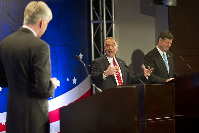 Former Virginia Gov. Tim Kaine, center, answers one of moderator David Gregory's questions while, at right, fellow candidate for U.S. Senate George Allen waits for his turn during the first debate for the two Virginia candidates at the Capital One Conference Center in Tysons Corner, Va., on Thursday, Sept. 20, 2012. This race has been considered one of the most competitive races in the country. (Barbara L. Salisbury/The Washington Times)