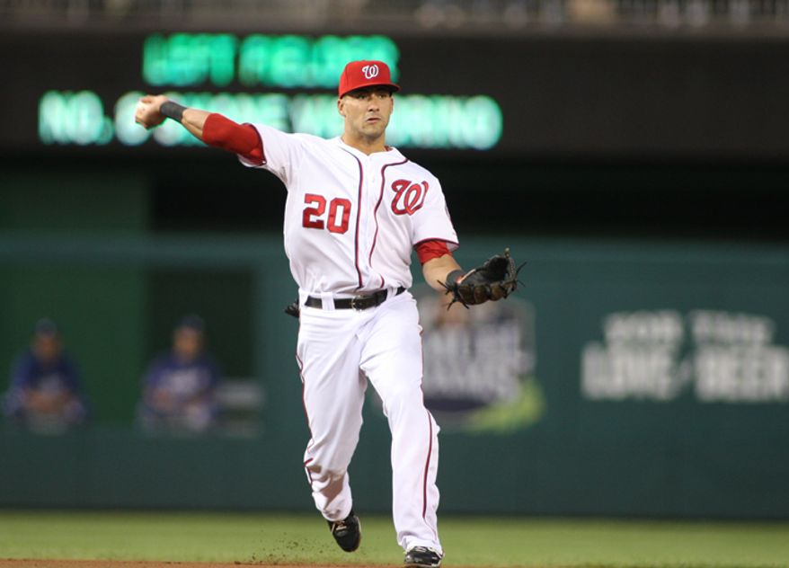 Washington Nationals shortstop Ian Desmond (20) throws to first for an out against Los Angeles Dodgers at Nationals Park. (Craig Bisacre/The Washington Times)