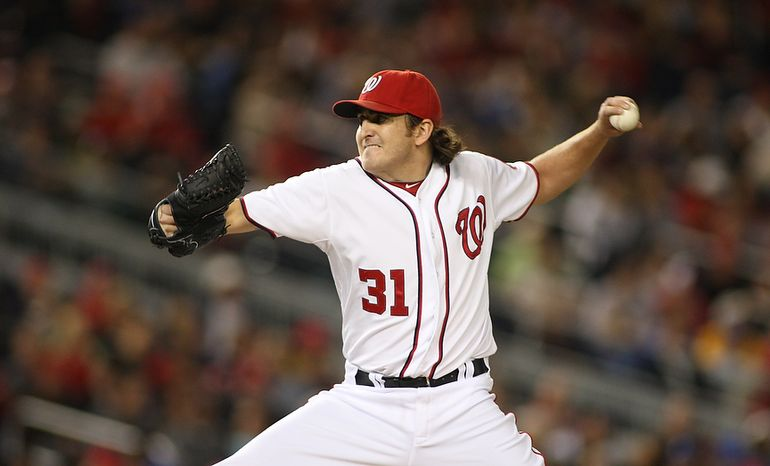 Washington Nationals starting pitcher John Lannan (31) throws during the third inning, Wednesday, Sept. 19, 2012, in Washington, DC. Washington Nationals lose to the Los Angeles Dodgers 6 to 7 in the second game of the doubleheader at National Park (Craig Bisacre/The Washington Times)