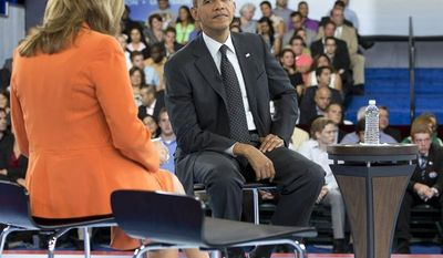 President Obama participates Sept. 20, 2012, in a town hall hosted by Univision and Univision news anchor Maria Elena Salinas (left) at the University of Miami in Coral Gables, Fla. (Associated Press)