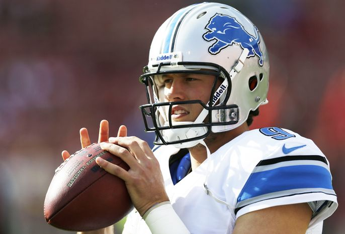 Detroit Lions quarterback Matthew Stafford before of an NFL football game against the San Francisco 49ers in San Francisco, Sunday, Sept. 16, 2012. (AP Photo/Marcio Jose Sanchez)