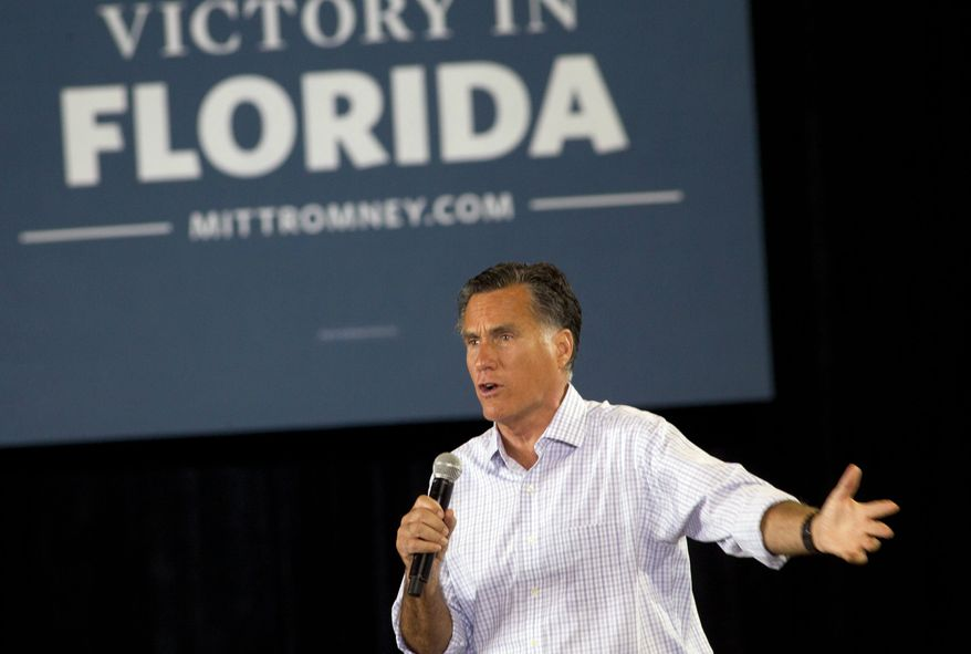 Republican presidential candidate Mitt Romney speaks Sept. 19, 2012, to supporters in Miami. (Associated Press)