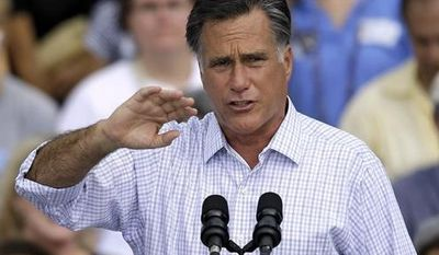 Republican presidential candidate and former Massachusetts governor Mitt Romney gestures during a campaign rally at the Ringling Museum of Art Thursday, Sept. 20, 2012, in Sarasota, Fla. (AP Photo/Chris O'Meara)