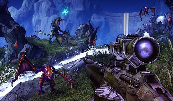 Fight strange creatures in the first person shooter Borderlands 2.