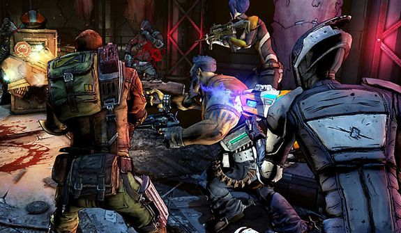 Four Vault Hunters attack in the video game Borderlands 2.