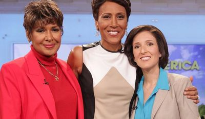 "**FILE** ""Good Morning America"" co-host Robin Roberts (center) poses with her sister Sally-Ann Roberts (left) and Dr. Gail Roboz on the show on Thursday, Aug. 30, 2012 in New York. (Associated Press/ABC)"