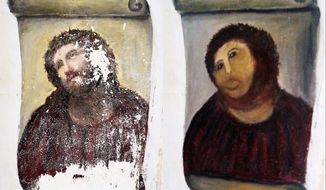 The 20th-century Ecce Homo-style fresco of Christ went from relative obscurity to global infamy. The mortified woman responsible for its botched restoration could claim intellectual property rights and a cut of profits to benefit charity. (Center for Borjanos Studies via Associated Press)