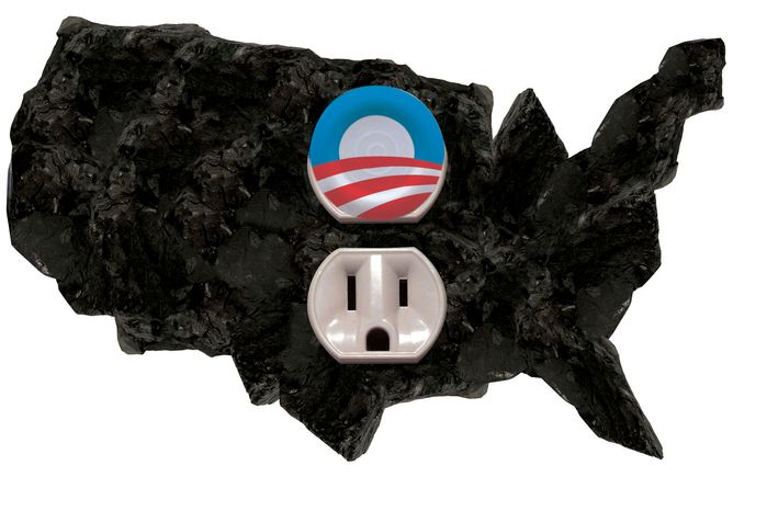 Illustration Obama Blocking Coal by Linas Garsys for The Washington Times
