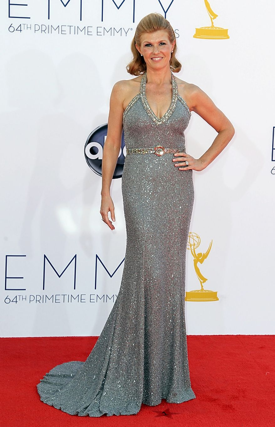 Actress Connie Britton arrives at the 64th Primetime Emmy Awards at the Nokia Theatre on Sunday, Sept. 23, 2012, in Los Angeles. (Photo by Matt Sayles/Invision/AP)