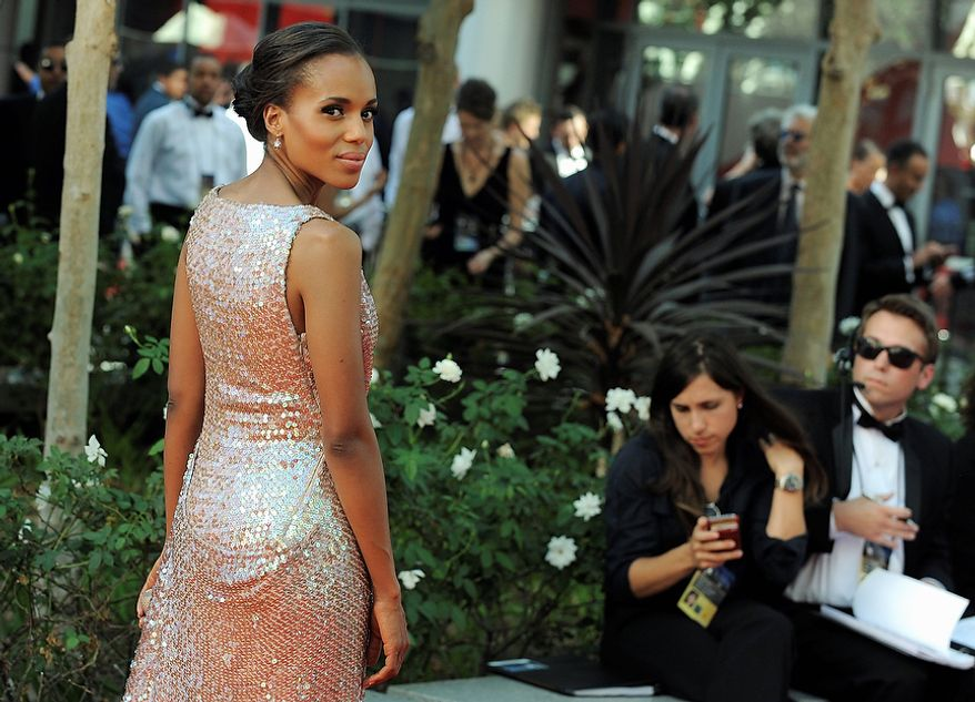 Actress Kerry Washington arrives at the 64th Primetime Emmy Awards at the Nokia Theatre on Sunday, Sept. 23, 2012, in Los Angeles.  (Photo by Jordan Strauss/Invision/AP)