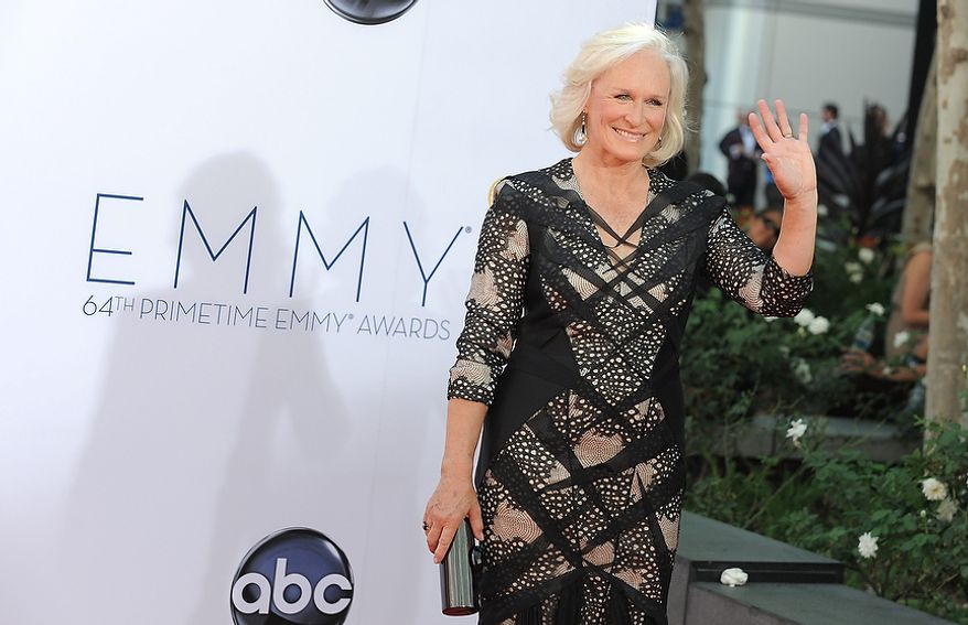 """Actress Glenn Close arrives at the 64th Primetime Emmy Awards at the Nokia Theatre on Sunday, Sept. 23, 2012, in Los Angeles.  Close is nominated for best actress in a drama series for her role as Patty Hewes in """"Damages.î (Photo by Jordan Strauss/Invision/AP)"""