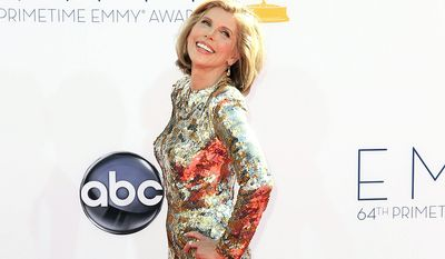 Christine Baranski arrives at the 64th Primetime Emmy Awards at the Nokia Theatre on Sunday, Sept. 23, 2012, in Los Angeles. (Photo by Matt Sayles/Invision/AP)