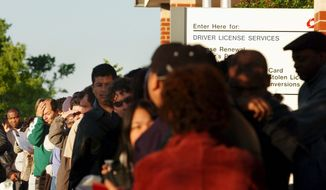 **FILE** Immigrants applying for driver's licenses wait at the doors of the Beltsville, Md., branch of Maryland's Motor Vehicle Administration in 2006. (The Washington Times)