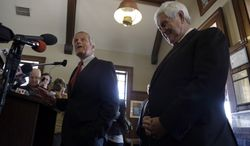 Rep. Todd Akin (left), Missouri Republican Senate candidate, accompanied by former House Speaker Newt Gingrich, speaks during a news conference Sept. 24, 2012, in Kirkwood, Mo. Akin is seeking to unseat Democratic incumbent Sen. Claire McCaskill in the November election. (Associated Press)