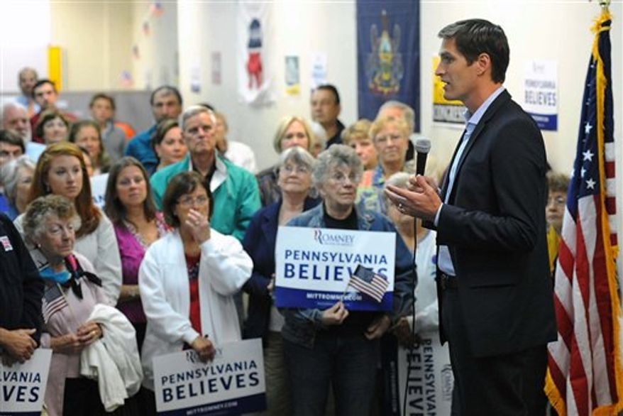 Josh Romney speaks to Republican supporters at GOP headquarters in Millcreek Township in Erie, Pa., on Friday, Sept. 21, 2012. Romney visited in support of his dad Mitt Romney. (AP Photo/Erie Times-News, Greg Wohlford)