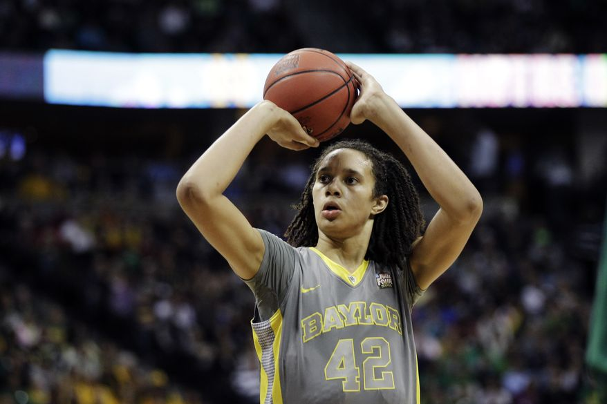 Baylor Bears center Brittney Griner shoots during the first half in the NCAA Women's Final Four college basketball championship game against the Notre Dame in Denver, Tuesday, April 3, 2012.  (AP Photo/Eric Gay)