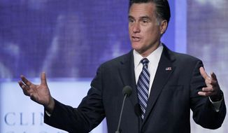 Republican presidential candidate Mitt Romney speaks Sept. 25, 2012, at the Clinton Global Initiative in New York. (Associated Press)