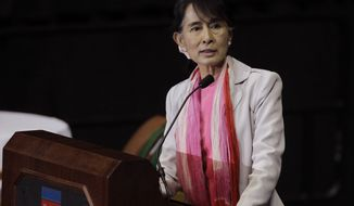 Myanmar democracy leader Aung San Suu Kyi speaks in Fort Wayne, Ind., on Sept. 25, 2012. Fort Wayne is home to one of the largest Burmese populations in the United States. (Associated Press)