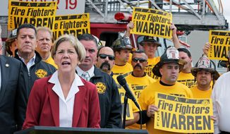 Democratic U.S. Senate candidate Elizabeth Warren won the endorsement of the Professional Fire Fighters of Massachusetts. She addressed a gathering outside a firehouse in Boston on Wednesday. Mrs. Warren is running against incumbent Republican Sen. Scott P. Brown. A recent poll show him with 20-point advantage among male voters. (Associated Press)