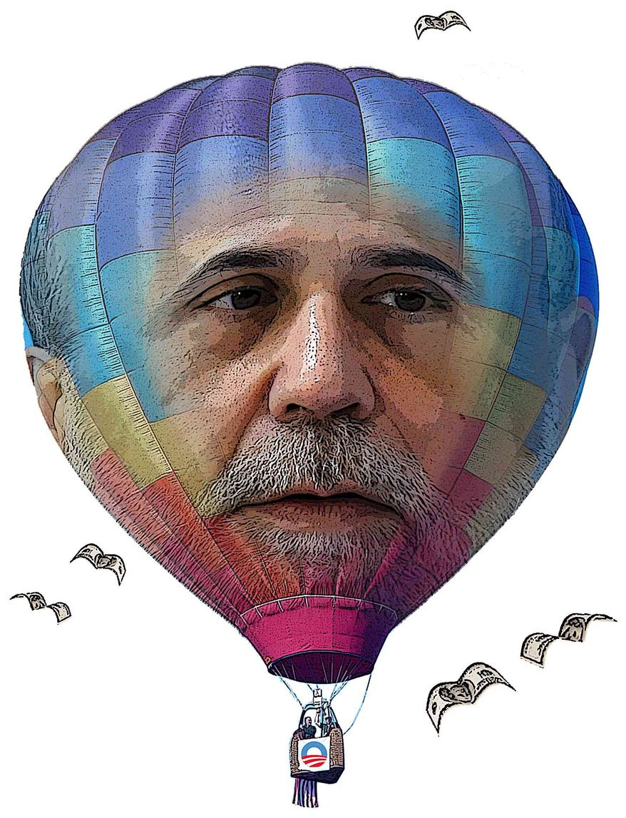 Illustration Bernanke Balloon by Greg Groesch for The Washington Times