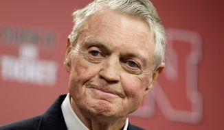 """Nebraska athletic director Tom Osborne announces his retirement as of Jan. 1, during a news conference in Lincoln, Neb., Wednesday, Sept. 26, 2012. The 75-year-old Osborne said """"the perception"""" that you're getting old """"can get in the way."""" He also said he didn't want to be a distraction. (AP Photo/Nati Harnik)"""