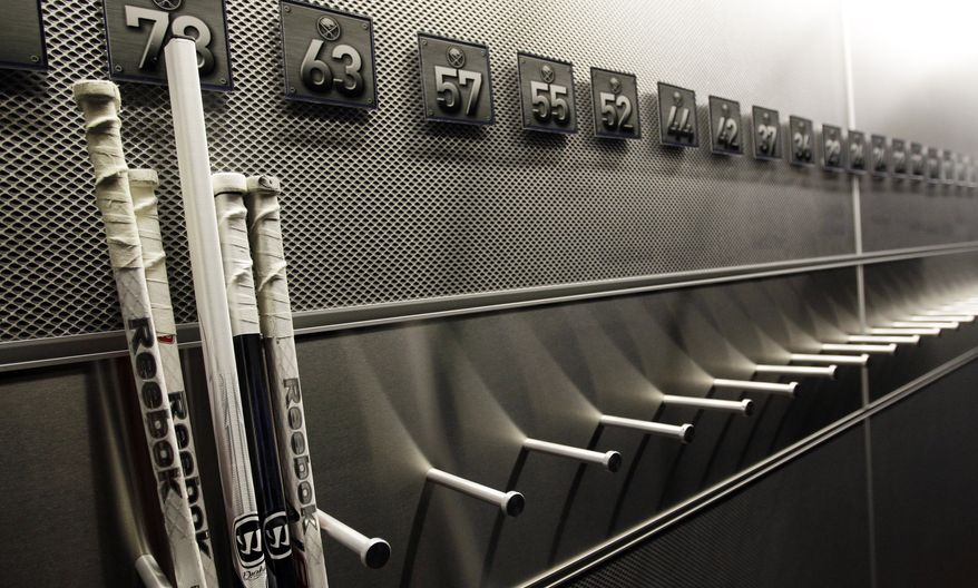 A nearly empty hockey stick rack in the Buffalo Sabres locker room is shown at the First Niagara Center, home of the Buffalo Sabres NHL hockey team, in Buffalo, N.Y., Tuesday, Sept. 25, 2012. The NHL and its union are to return to the bargaining table Friday, the first negotiations since the lockout began Sept. 15. (AP Photo/David Duprey)