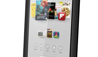 This undated image provided by Barnes & Noble shows one of the two new Nook tablets the company will be releasing in the fall of 2012. The company said Wednesday, Sept. 26, 2012, that its new Nook HD will come in two sizes, one with a screen 7-inches wide diagonally, the same size as past Nooks, starting at $199, and one with a new 9-inch diagonal screen, called the Nook HD+, starting at $269. (AP Photo/Barnes & Noble)