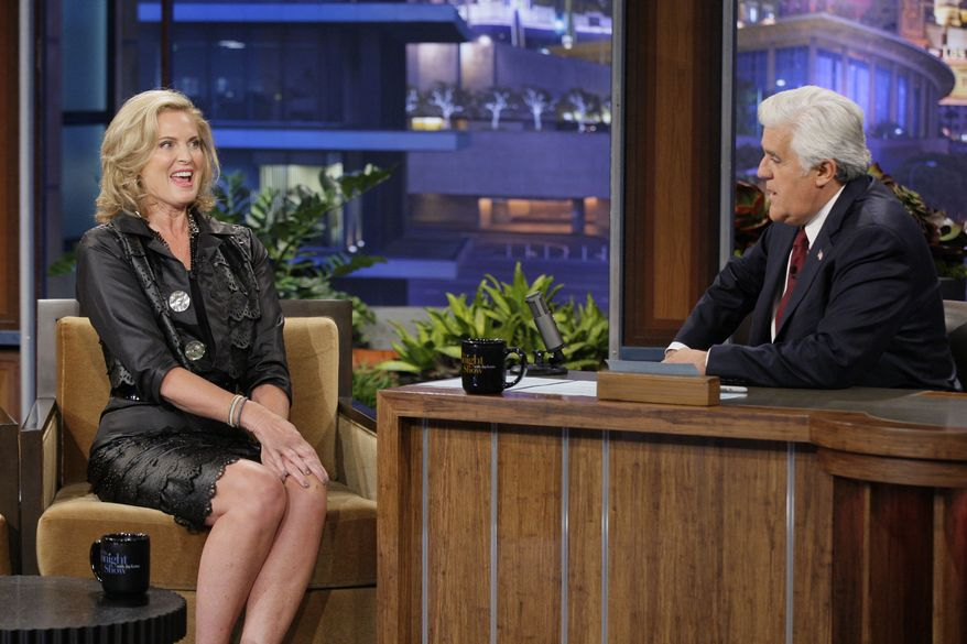 """Ann Romney, wife of Republican presidential nominee Mitt Romney, appears on """"The Tonight Show"""" with host Jay Leno on Tuesday, Sept. 25, 2012. (AP Photo/NBC, Paul Drinkwater)"""