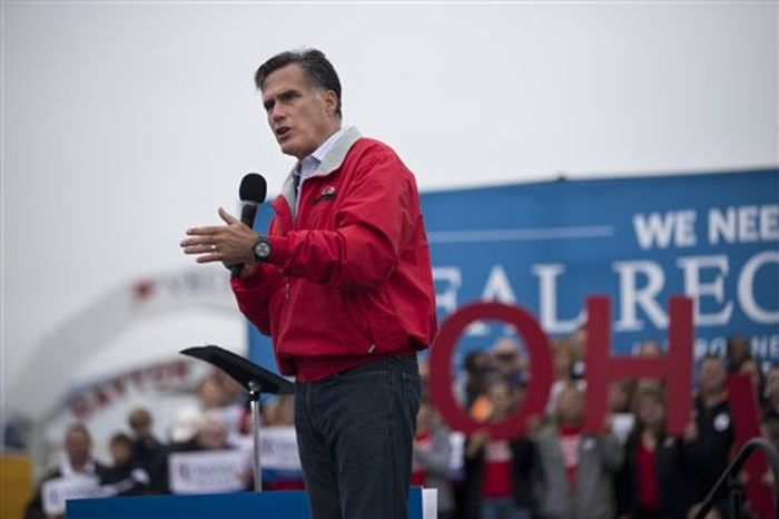 Republican presidential candidate Mitt Romney speaks Sept. 25, 2012, during a campaign rally in Vandalia, Ohio. (Associated Press)