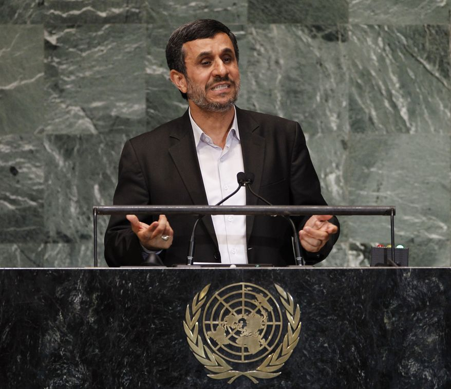 Iranian President Mahmoud Ahmadinejad addresses the 67th session of the U.N. General Assembly at the world body's headquarters on Wednesday, Sept. 26, 2012. (AP Photo/Jason DeCrow)