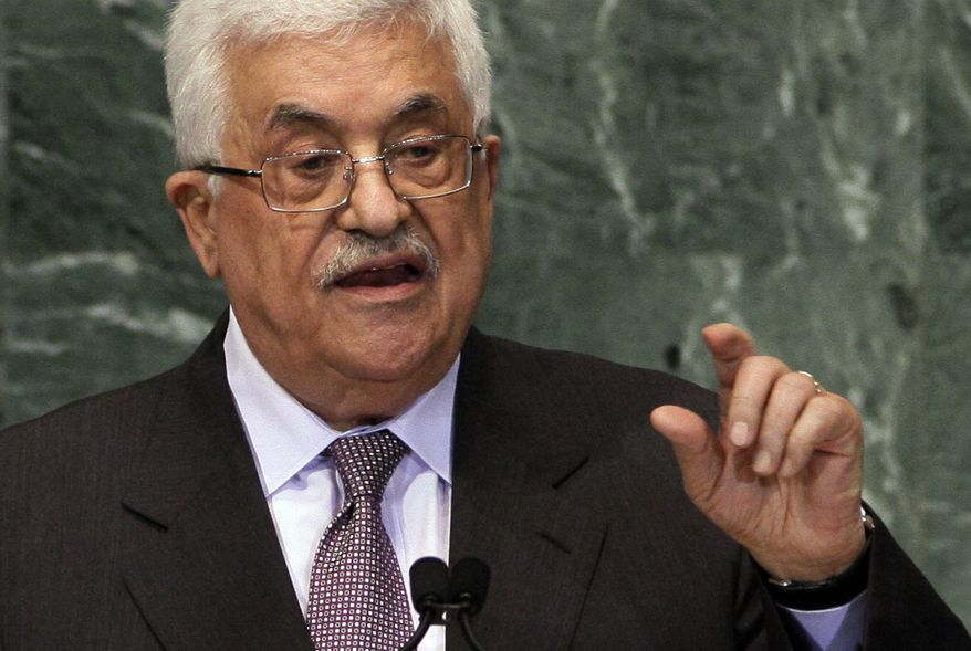 Palestinian President Mahmoud Abbas addresses the 67th session of the U.N. General Assembly at the world body's headquarters on Thursday, Sept. 27, 2012. (AP Photo/Richard Drew)