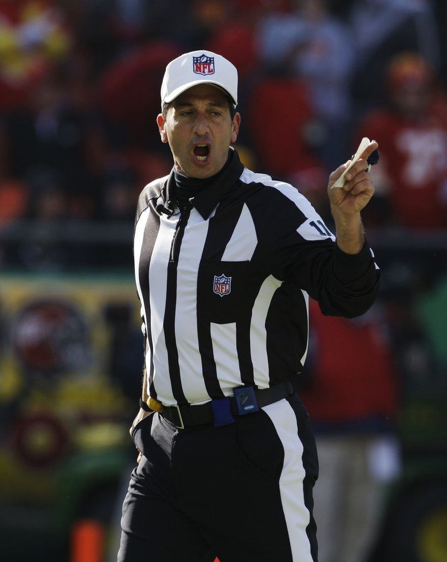 FILE - This Dec. 20, 2009 file photo shows NFL referee Gene Steratore during the first half of an NFL football game between the Cleveland Browns and Kansas City Chiefs, in Kansas City, Mo. The NFL has selected veteran referee Steratore to lead a seven-man crew of regular officials in calling Thursday night's, Sept. 27, 2012 game between the Cleveland Browns and Baltimore Ravens. The game will be the first officiated by the regulars since they were locked out by the NFL in a contract dispute. The union and league agreed to a new deal at midnight Thursday. (AP Photo/Orlin Wagner, File)