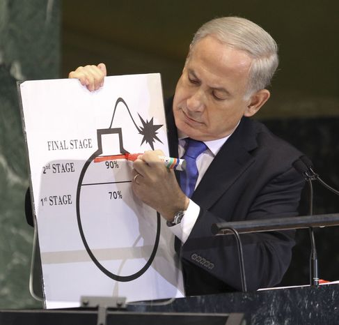 Israeli Prime Minister Benjamin Netanyahu highlights an illustration as he describes his concerns over Iran's nuclear ambitions during his address to the 67th session of the U.N. General Assembly at the world body's headquarters on Thursday, Sept. 27, 2012. (AP Photo/Seth Wenig)