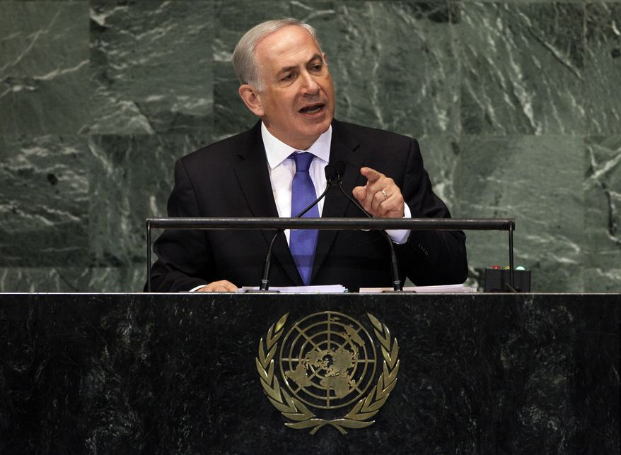 Israeli Prime Minister Benjamin Netanyahu addresses the 67th session of the U.N. General Assembly on Thursday, Sept. 27, 2012. (AP Photo/Richard Drew)