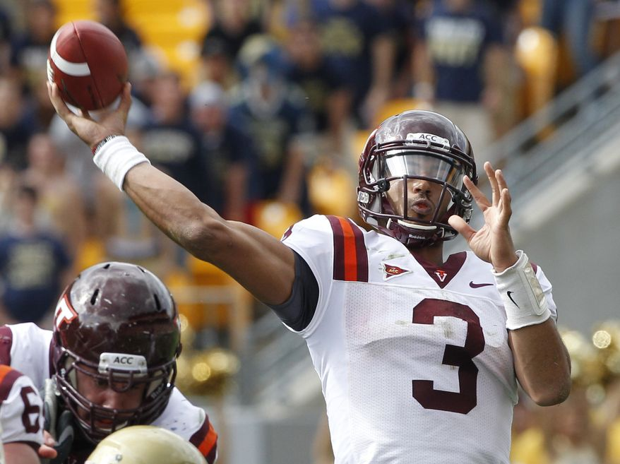 Virginia Tech quarterback Logan Thomas (3) looks to pass in the NCAA college football game against Pittsburgh, Saturday, Sept. 15, 2012 in Pittsburgh. (AP Photo/Keith Srakocic)