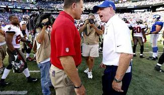Giants coach Tom Coughlin (right) took exception to Buccaneers coach Greg Schiano's decision to crash the victory formation during Week 2. (Associated Press)